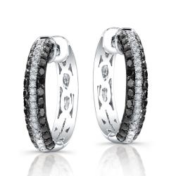 Sterling Silver 1/3ct TDW Black and White Diamond Hoop Earrings (J, I2-I3)
