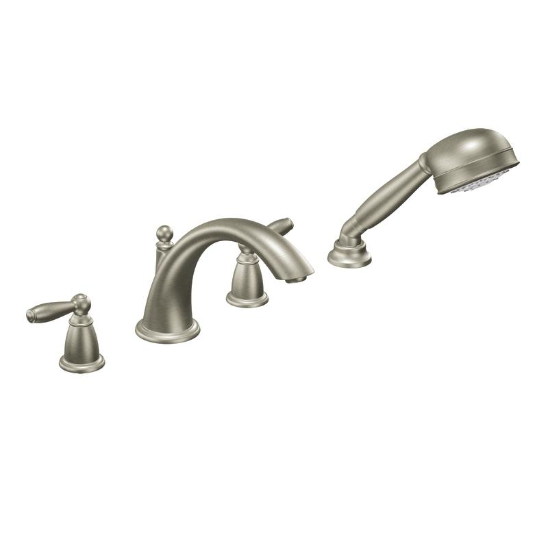 Moen Brushed Nickel Double Handle Low Arc Roman Tub Faucet Includes Hand Shower 13666983