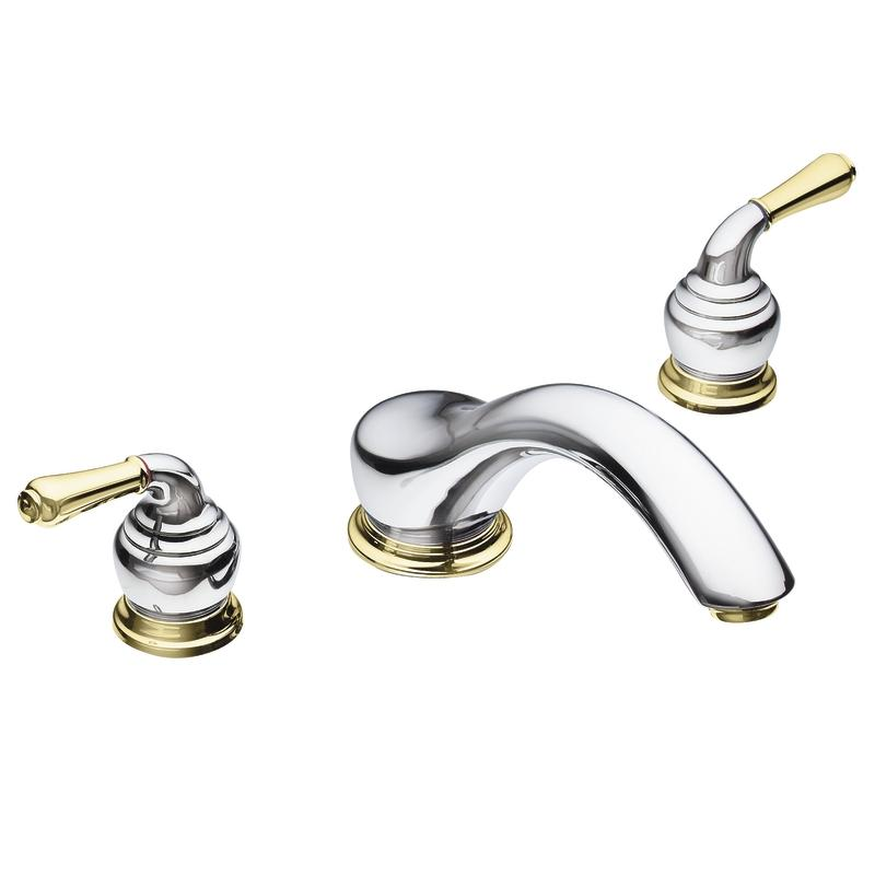 Moen Chrome Polished Brass Double Handle Low Arc Roman