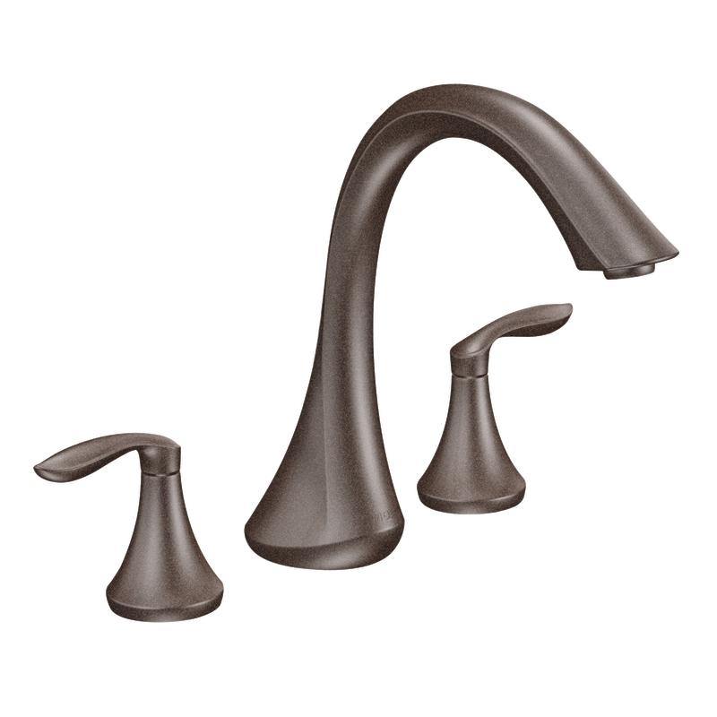 moen oil rubbed bronze double handle high arc roman tub faucet