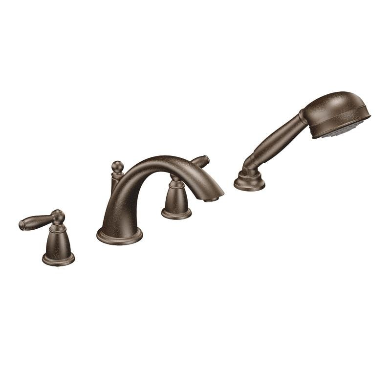 moen oil rubbed bronze double handle low arc roman tub faucet with