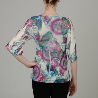 Simply Irresistible Women's Floral Pleated V-neck Faux-wrap Top
