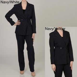 Allyson Cara Women's Plus Size Double-breasted Pant Suit
