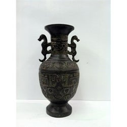 Hand-carved Vintage Bronze Vase with Seahorse Handles