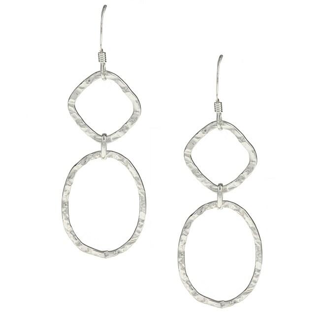 La Preciosa Sterling Silver Hammered Dangle Earrings