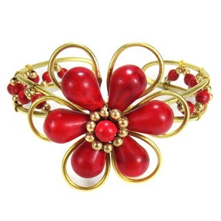 Goldtone Chic Red Coral Floral Cuff (Thailand)