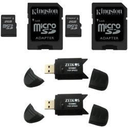 Kingston 2GB microSD Flash Memory Card/ SD Adapter/ SD Card Reader (Pack of 2)