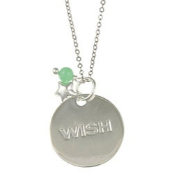 La Preciosa Silver Green Cubic Zirconia 'Wish' Disc and Star Necklace