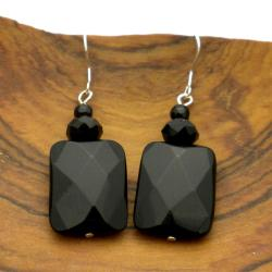 Sterling Silver Faceted Onyx Earrings (China)