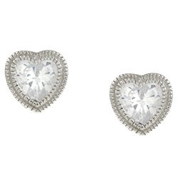 La Preciosa Sterling Silver Cubic Zirconia Heart Stud Earrings
