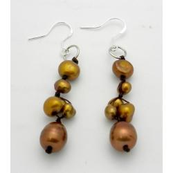 Sterling Silver Hand-knotted Gold Pearl Earrings (3-7 mm) (China)