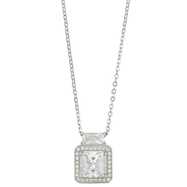 La Preciosa Sterling Silver Micro-pave Cubic Zirconia Square Necklace