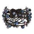 Cotton Contempo Criss Cross Wrap Pearl/ Coral/ Turquoise Cuff (5-11 mm) (Thailand)