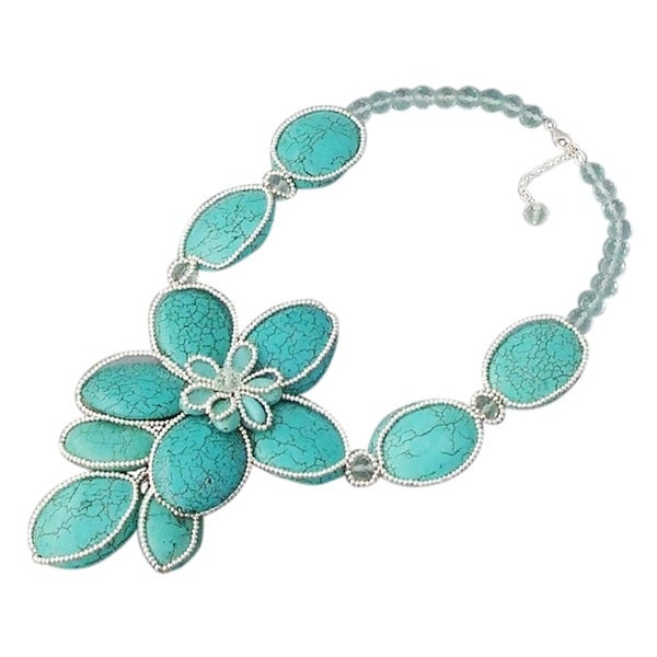Silver Turquoise Floral Attention Necklace (Thailand)