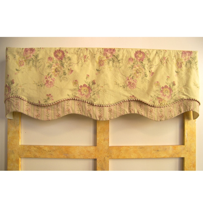 French Pink Valance With Braid Trim