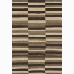 Hand-Knotted Mandara Brown/Beige/Taupe New Zealand Wool Rug (5' x 7'6)
