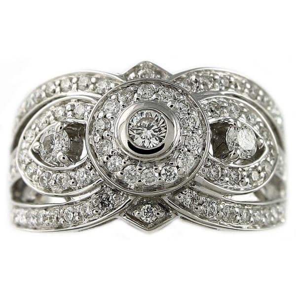 Beverly Hills Charm 14k White Gold 7/8ct TDW 3-stone Diamond Ring (H-I, SI2-I1)