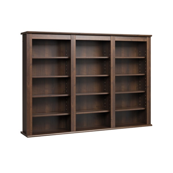 Espresso wall hanging media storage cabinet bookshelf for Free hanging bookshelves