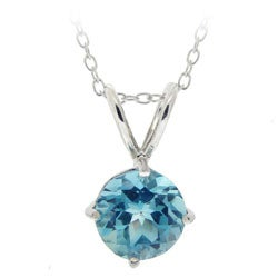 Glitzy Rocks Sterling Silver Swiss Blue Topaz Solitaire Necklace