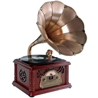 Pyle Trumpet Horn Phonograph Music Player