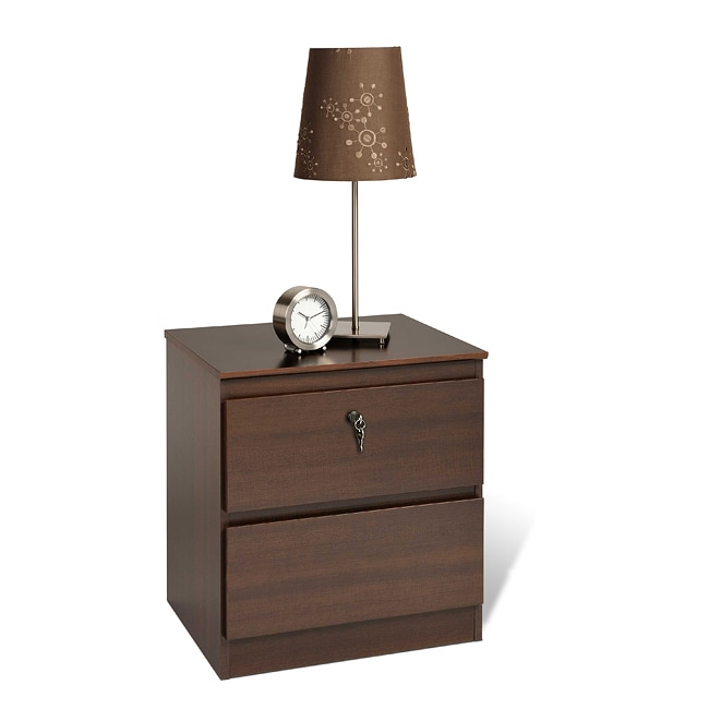 Escala Espresso Two-drawer Locking Night Stand