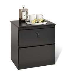 Escala Black Two-drawer Locking Night Stand