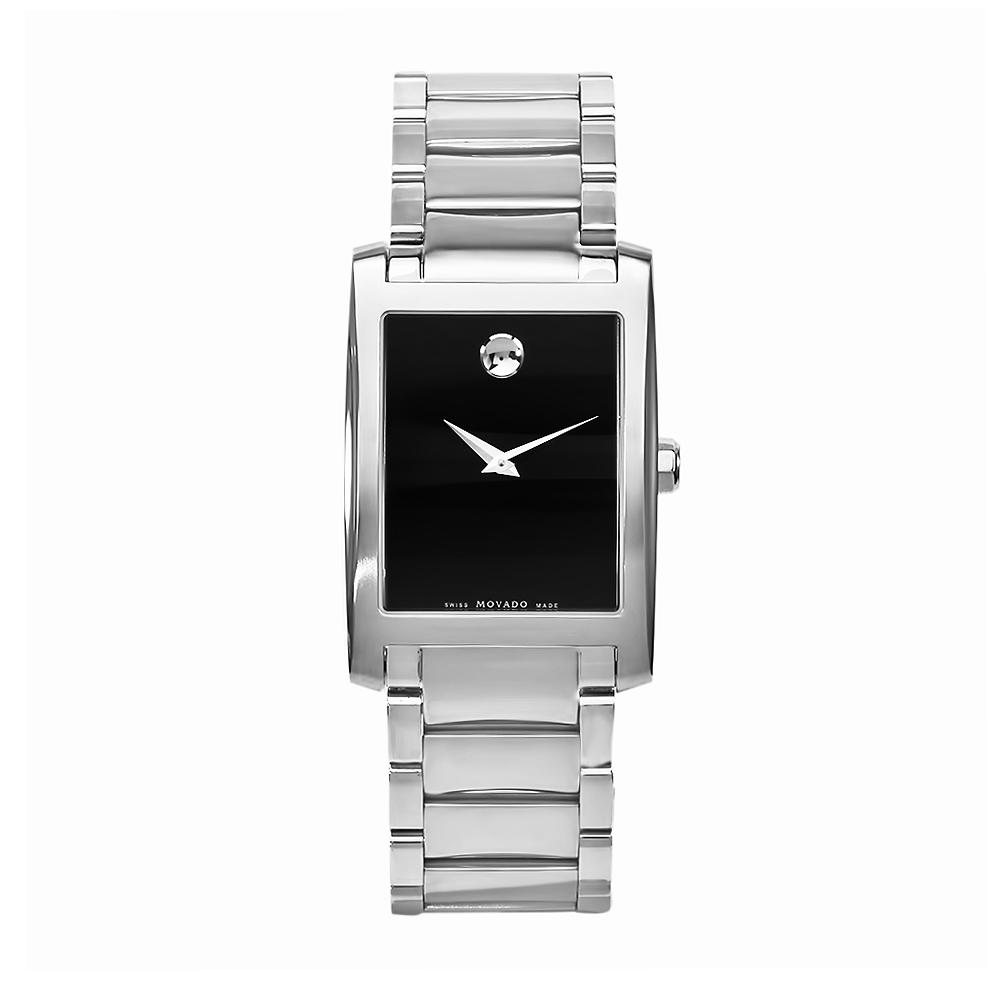 Movado Men's Certe Stainless Steel Bracelet Black Dial Watch