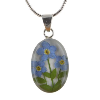 Sterling Silver Forgetmenot Flowers Medium Oval Necklace (Mexico)