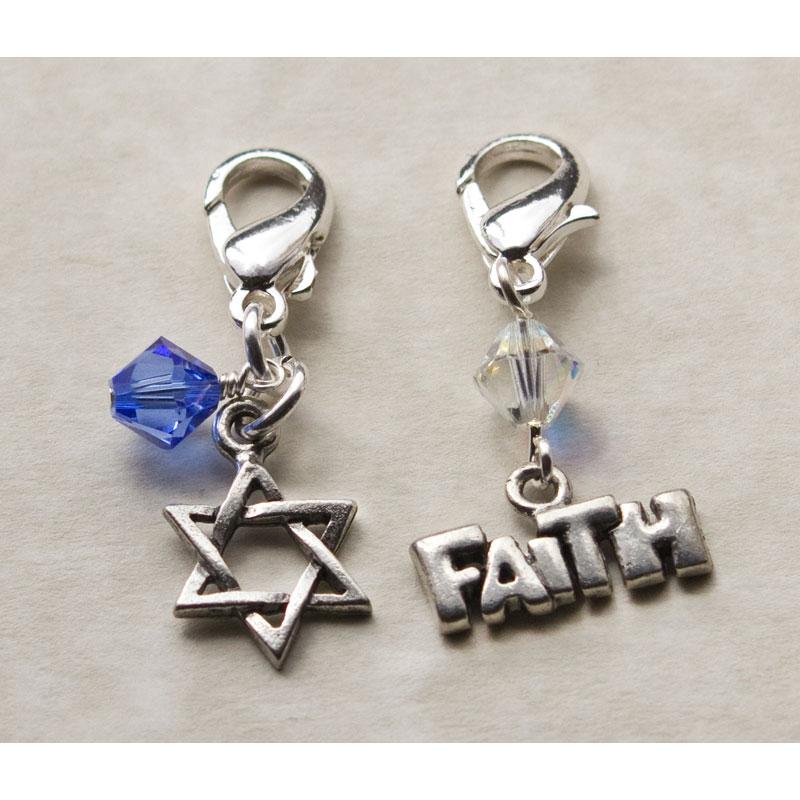 Fashion Forward Pewter Star of David/Faith Charms (Set of 2)