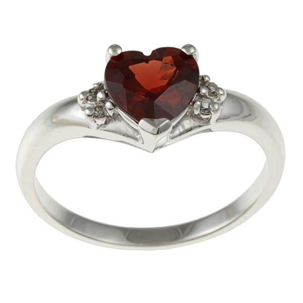 Sofia 14k White Gold Heart-cut Garnet and Diamond Accent Ring (J-K, I1-I2)