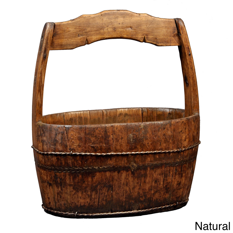 Revival Antique Vintage madera Wash Bucket & amp; Comentarios (madera Wash Cubo, Lavado de madera antigua)