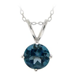 Glitzy Rocks Silver 1 1/2ct TGW London Blue Topaz Solitaire Necklace