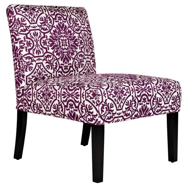angelo:HOME Bradstreet Modern Damask Provence Purple Upholstered Armless Chair