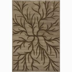 Hand-Tufted Mandara Light Brown/Brown New Zealand Wool Rug (5' x 7'6)