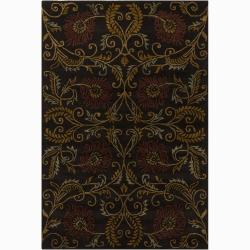 """Hand-Tufted Mandara Brown Floral New Zealand Wool Area Rug (5' x 7'6"""")"""