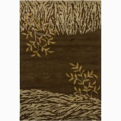 Hand-tufted Mandara Brown Floral New Zealand Wool Rug (5' x 7'6)