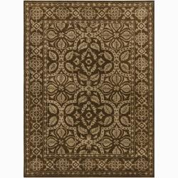 Hand-tufted Mandara Floral New Zealand Wool Rug (5' x 7')