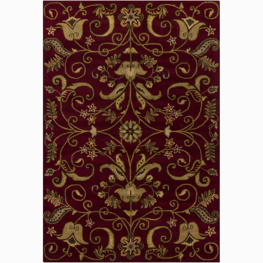 Hand-tufted Mandara Floral Red New Zealand Wool Rug (5' x 7'6)