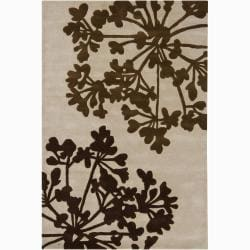 Hand-Tufted Mandara Brown Floral Contemporary New Zealand Wool Rug (7 '9