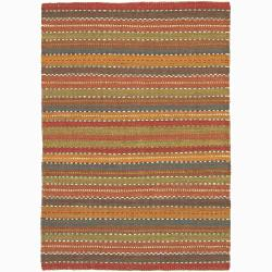 Hand-woven Mandara Natural Living Jute Stripe Rug (5' x 7'6)