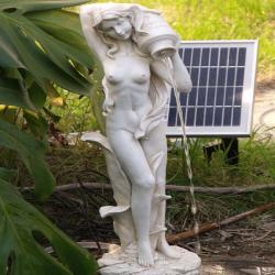 Standing Girl Pond Fountain with Solar Pump Kit