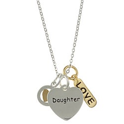 La Preciosa Sterling Silver 'Daughter', 'Love' and Heart Necklace