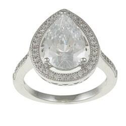 La Preciosa Sterling Silver Cubic Zirconia Teardrop Ring