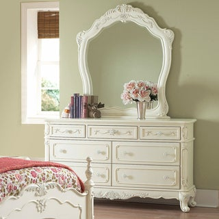 TRIBECCA HOME Fairytale Victorian Princess White Dresser and Mirror