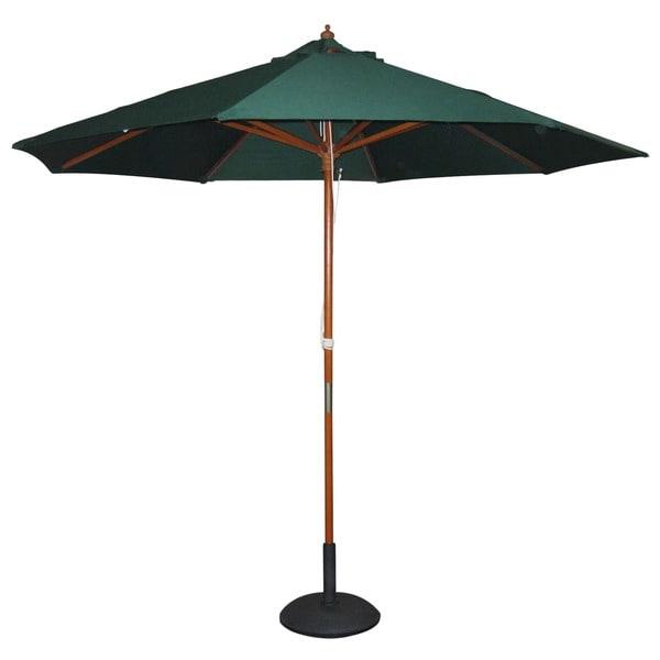 International Caravan Balau Hardwood 9.8-foot 8-ribbed Push-up Umbrella with Pulley System