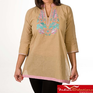 Women's Cotton Beige and Pink Collar Embroidered Kurti/ Tunic (India)