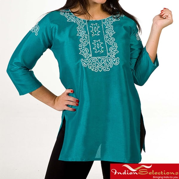 Women's Aqua Thread Embroidered and Sequins Kurti/ Tunic (India)