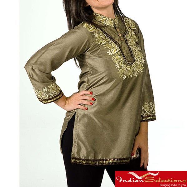 Women's Henna Thread Embroidered and Sequins Kurti/ Tunic (India)