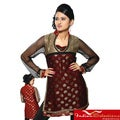Women's Rust Net-sleeve Half-body Kurti/ Tunic (India)