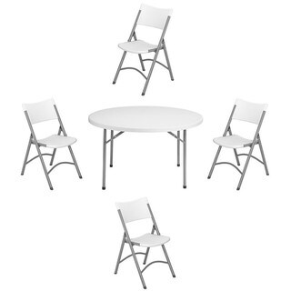 NPS 48-inch Round Folding Table and Set of 4 Chairs
